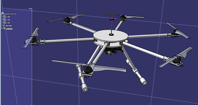 surveillance简易六轴无人机3D数模图纸 IGS格式