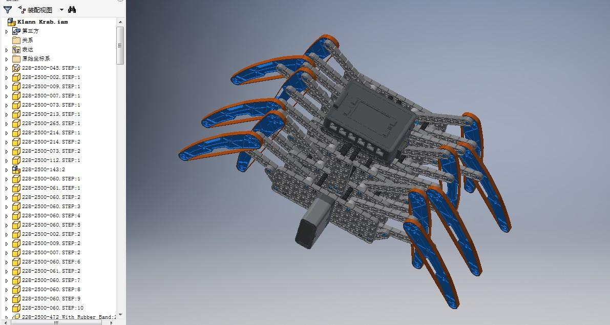 Klann Krab多足爬行机器人玩具模型3D图纸 INVENTOR设计 附STP