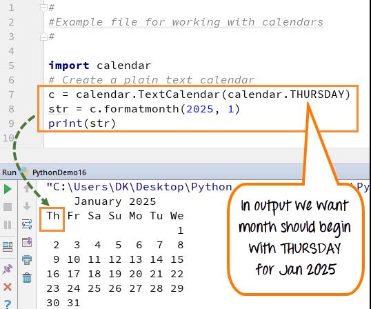 DAY6-step7 Python 示例说明CALENDAR