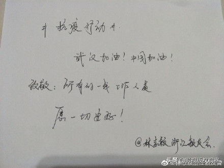 杨幂刘涛黄晓明热巴王鸥等上百明星手写加油接力,用文字支持抗疫