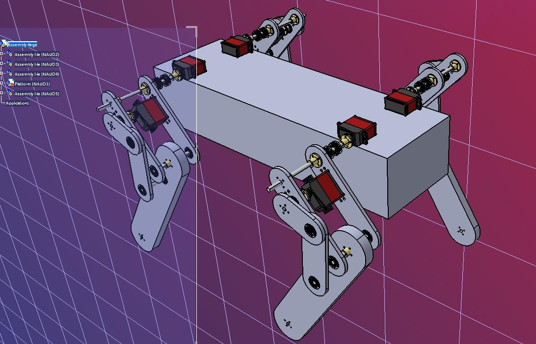 Quadruped Robot Dog简易四足机器狗结构3D图纸 STEP格式