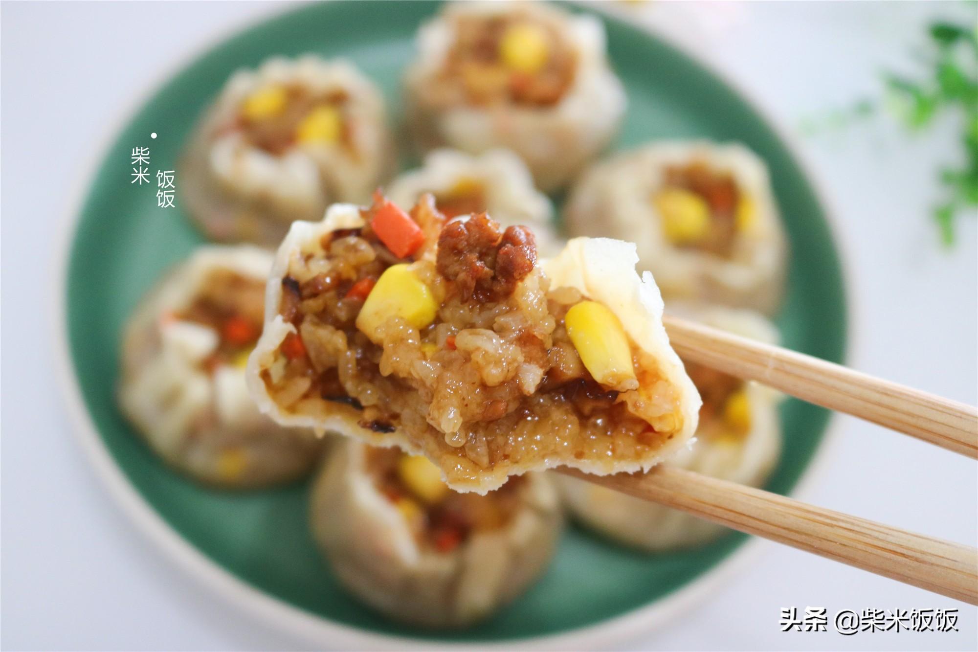 孩子点名要吃的烧麦,做法比饺子简单,一锅蒸33个,凉了也好吃 美食做法 第2张