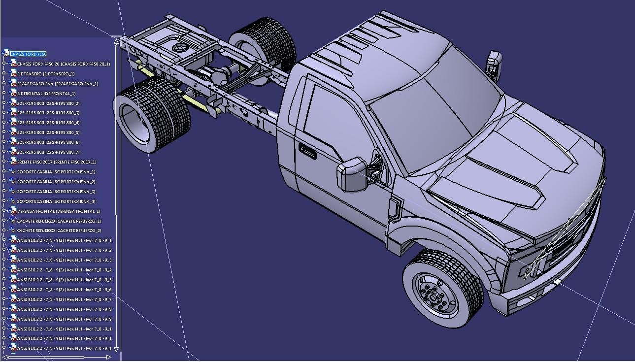 福特F550房车底盘模型3D图纸 STP格式