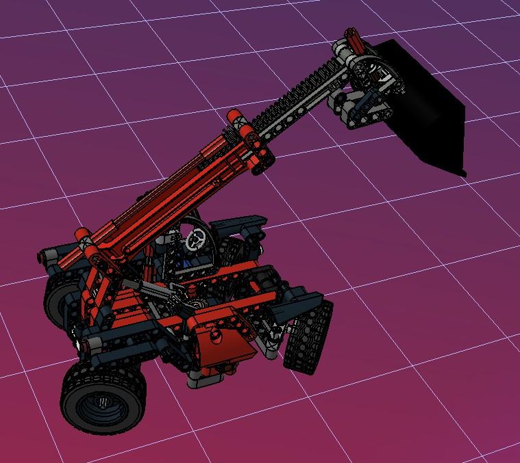 缩臂铲车42061拼装玩具模型车3D图纸 STP格式