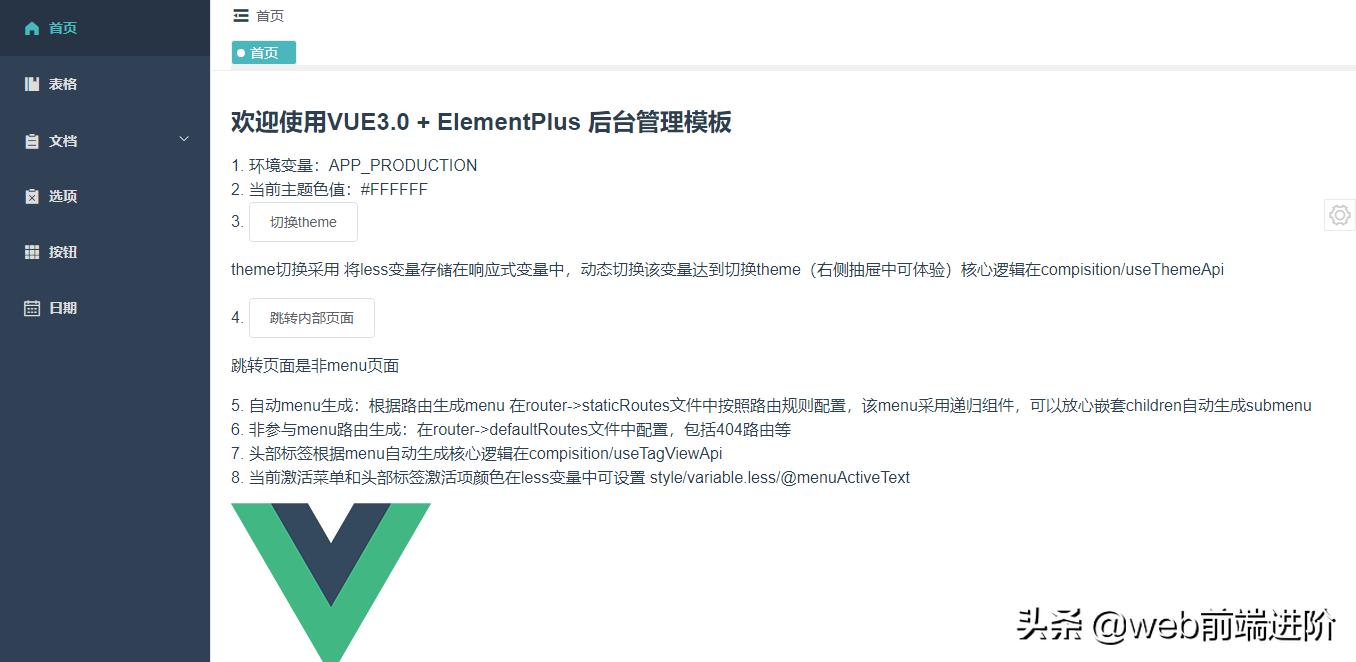 基于 Vue3.0+ElementPlus 后台精简模板