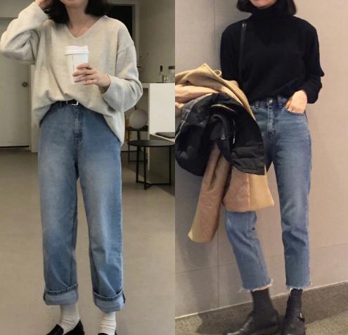 宽松的裤子奈何样穿不显胖?3个上衣穿法,偷塞2条秋裤看下来也瘦