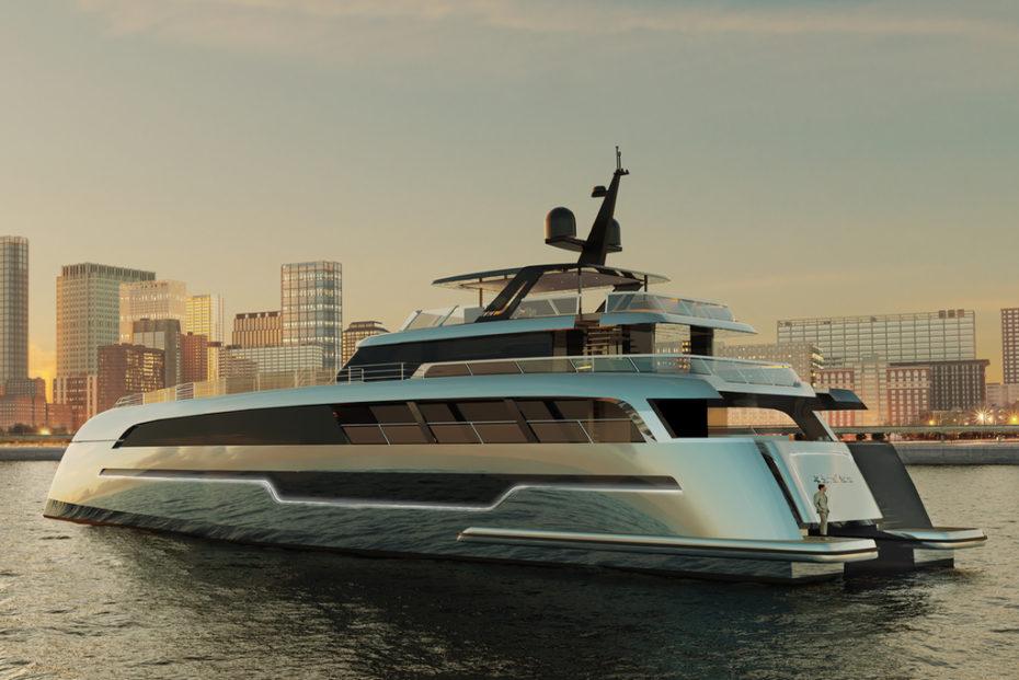 """世界最大双体动力游艇,49米海上""""巨兽""""渲染照流出,明年面世"""