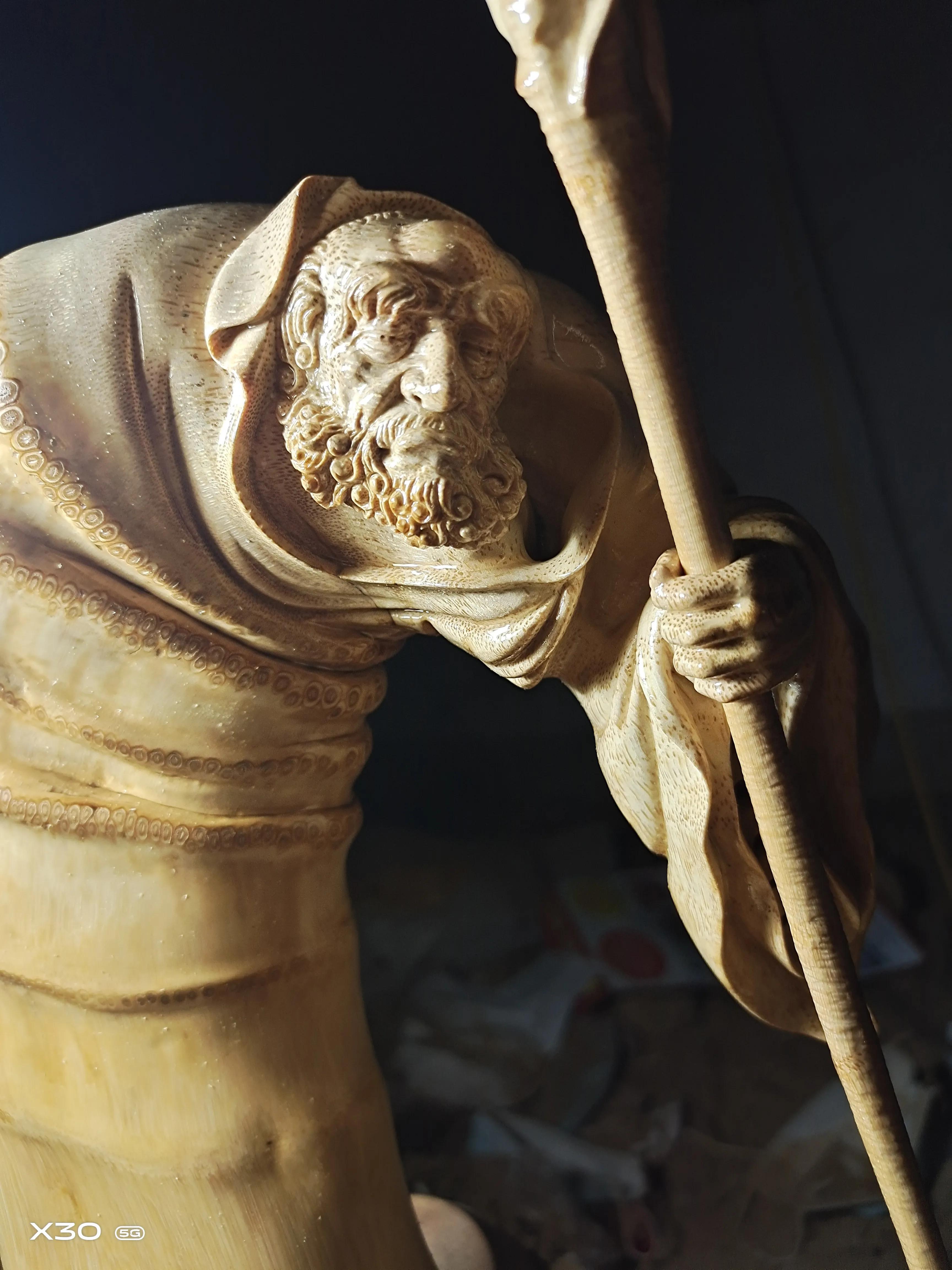 竹雕。达摩