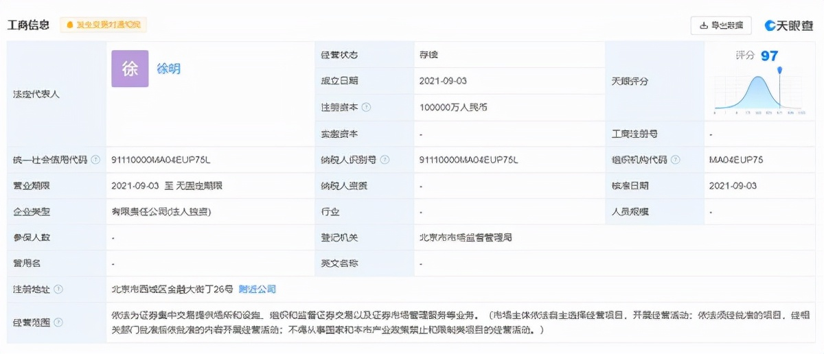 刚刚!北京证券交易所完成工商注册:注册资本10亿元,徐明任董事长.jpg