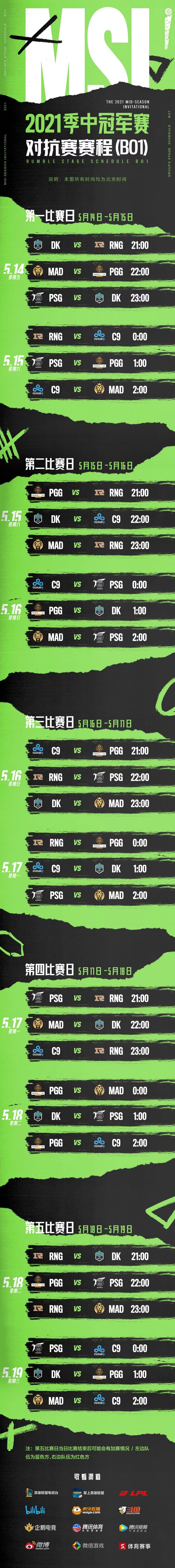 2021季中冠军赛对抗赛赛程公布!xiaohu多项数据第一