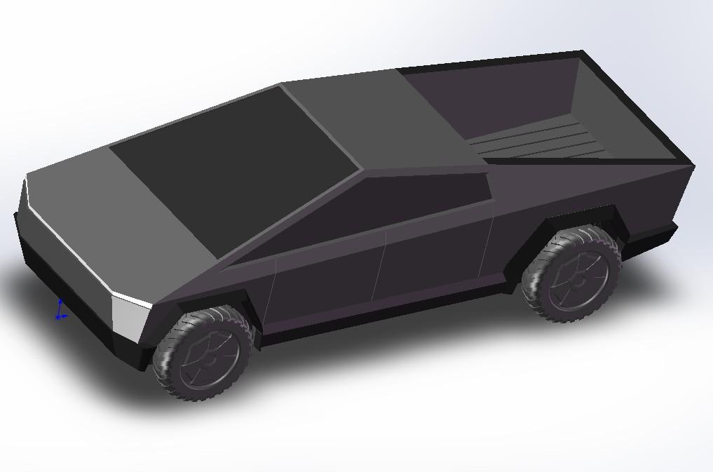 3款Tesla Cybertruck特斯拉电动皮卡3D图纸 Solidworks STEP STL