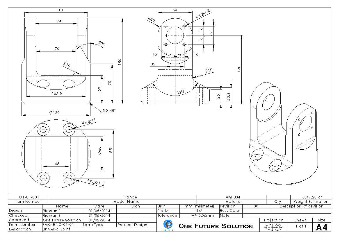 universal joint十字轴万向节3D数模图纸 Solidworks设计