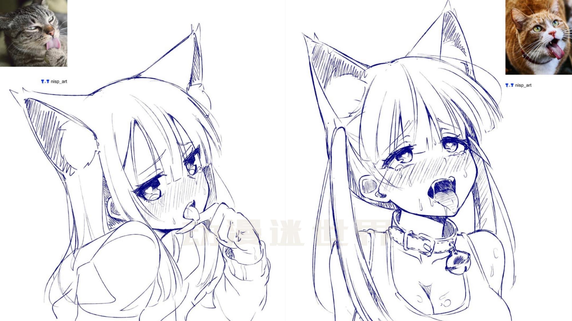 國外畫師用一根圓珠筆,把「貓咪」變成「貓娘」,紳士表示很中意