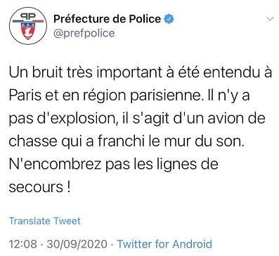 巴黎传出巨大爆炸声 警方称系战斗机音爆