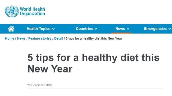 世界卫生组织官宣!健康饮食做好这五点 饮食健康 第1张