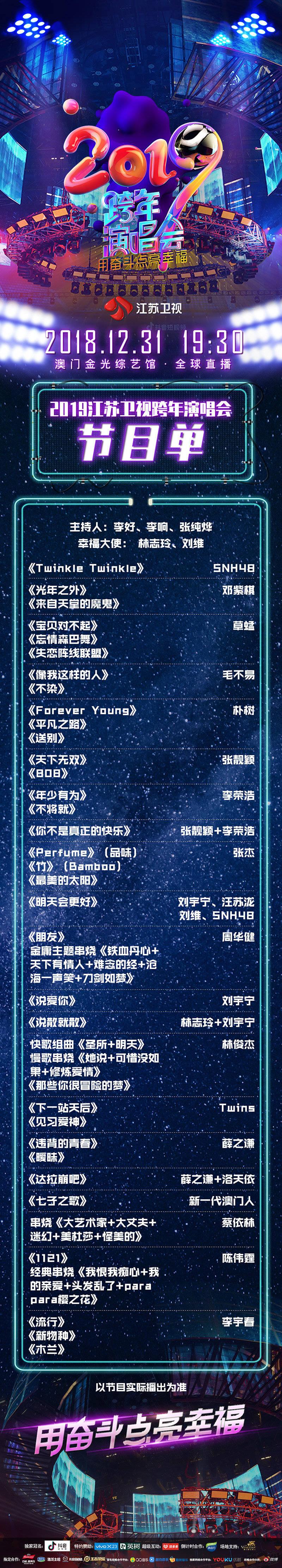 181231 江苏卫视跨年节目单公开 薛之谦突破次元壁跨界合作嗨翻跨年夜