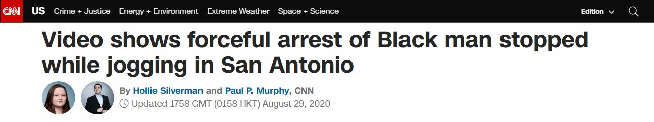 美国黑人男子慢跑时被警察盘问还遭遇电击,事后警察却发现抓错了人……