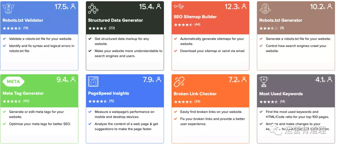 评价分析、FB兴趣发现、客户管理、SEO相关,我们推荐这50个工具