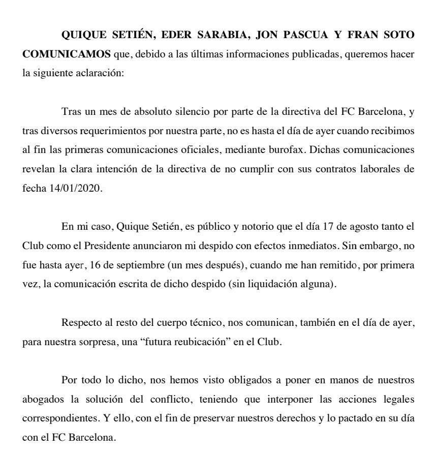 塞蒂恩团队声明:将通过法律手段解决和巴萨合同争端