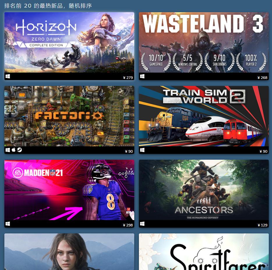 Steam 2020年8月暢銷遊戲公佈《地平線:零之曙光》上榜