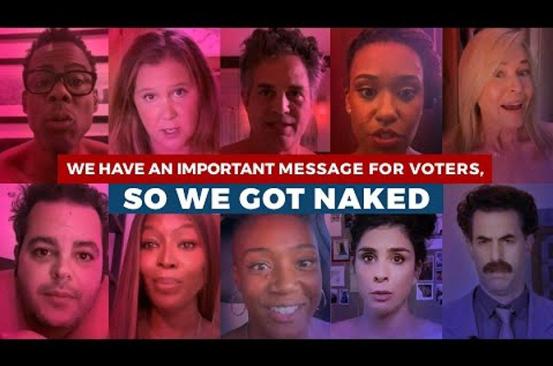 """美国众多好莱坞大咖为国""""献身""""裸体呼吁民众参与大选投票"""