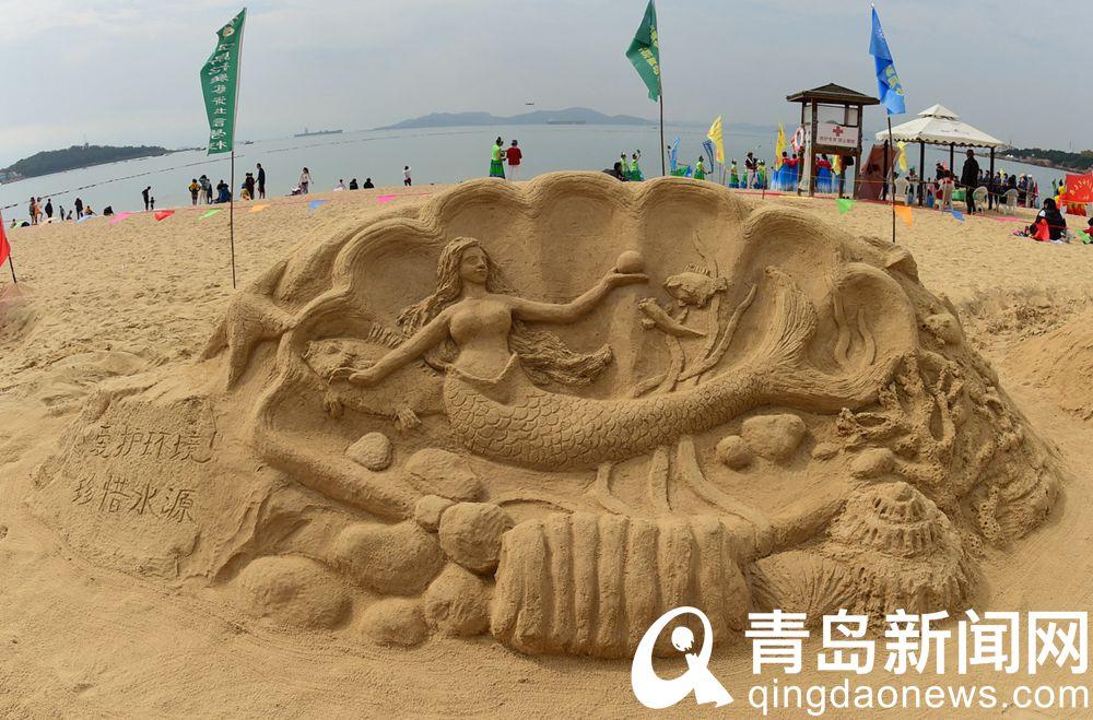 第29届青岛国际沙滩节上沙雕作品生动传神引人入胜