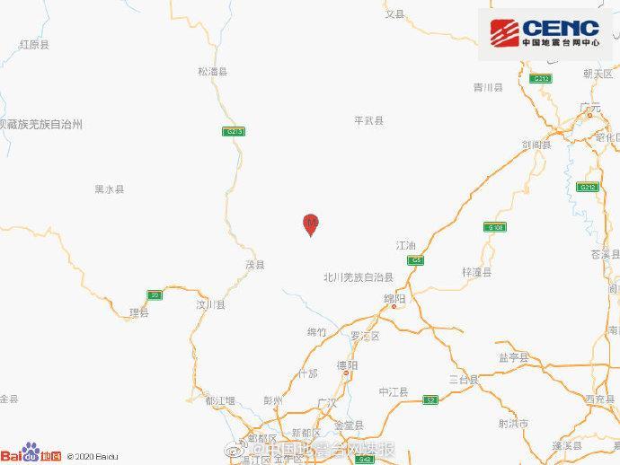 五天内第六次!四川绵阳市北川县今晨发生3.6级地震,震源深度12千米