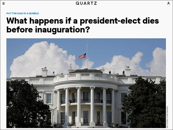"""美媒发文称""""要是拜登就职前就挂了怎么办"""",惹众怒后道歉 原创观察者网2020-11-08 19:15:54 【文/观察者网 齐倩】拜登现年77岁,如若顺利当选,他将成为美国有史以来就任时年纪最大的总统"""