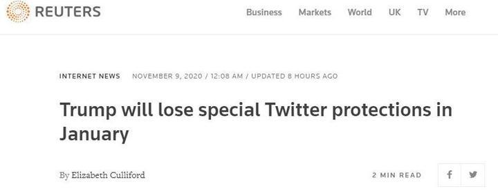 追踪丨外媒:特朗普明年1月将失去推特特别保护