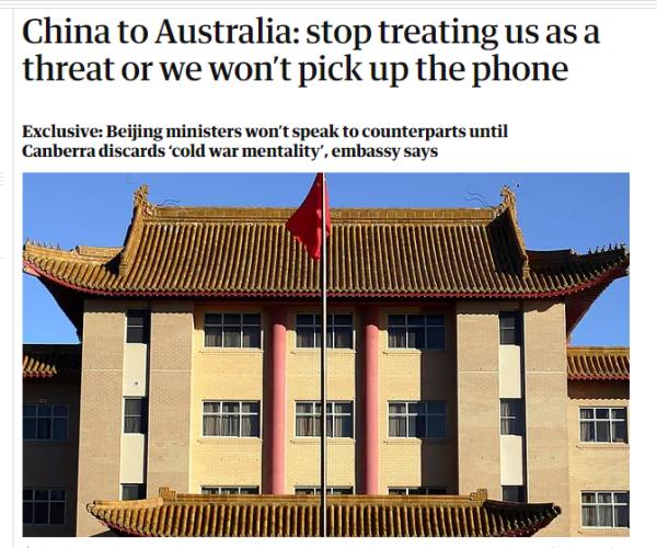 """中国官员告知澳方:停止视中国为战略威胁,否则""""不接电话"""""""