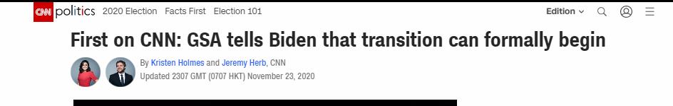 """特朗普发推回应""""美总务管理局批准拜登过渡进程"""",法新社:这是迄今他最接近承认""""败选""""的表态"""