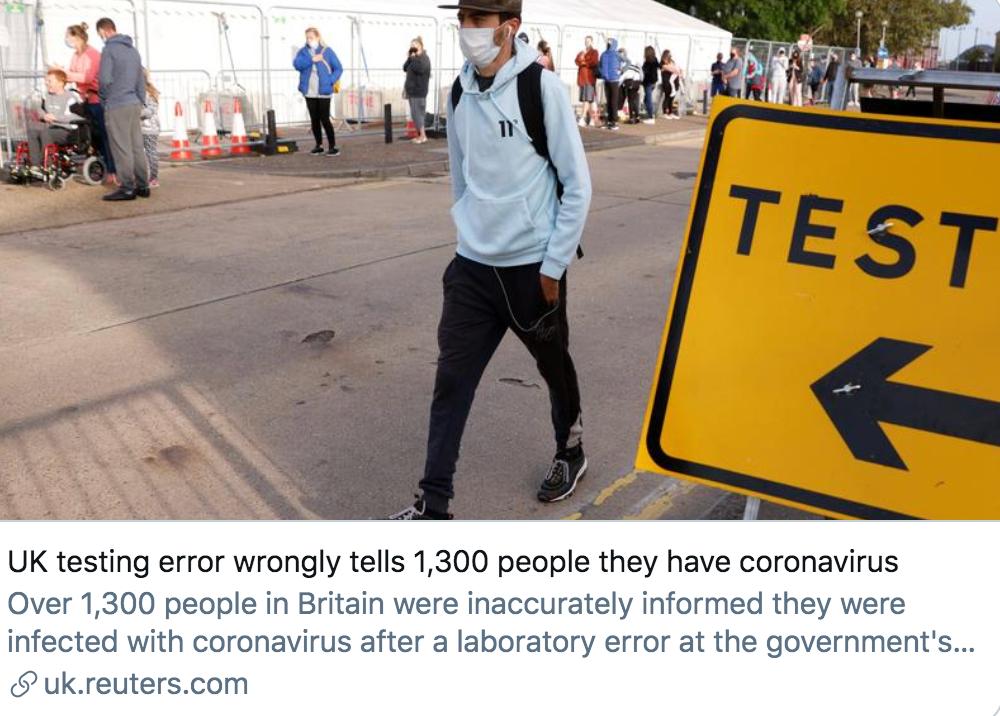 因检测系统出错,英国超1300人被误诊新冠