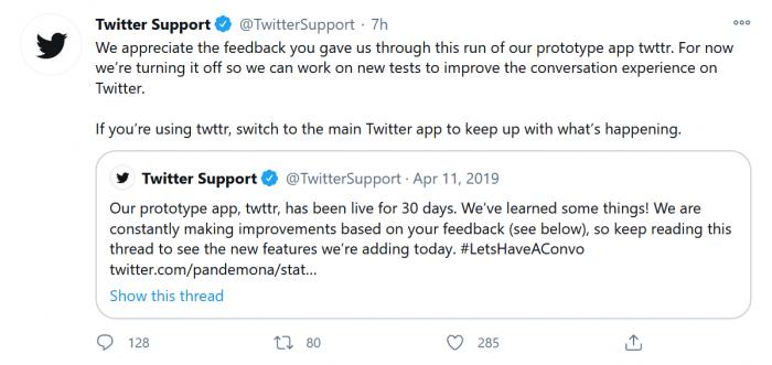 Twitter宣布关闭线程回复 称这让用户对话变得更加难阅读