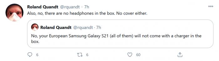 三星Galaxy S21欧洲版将不提供充电适配器