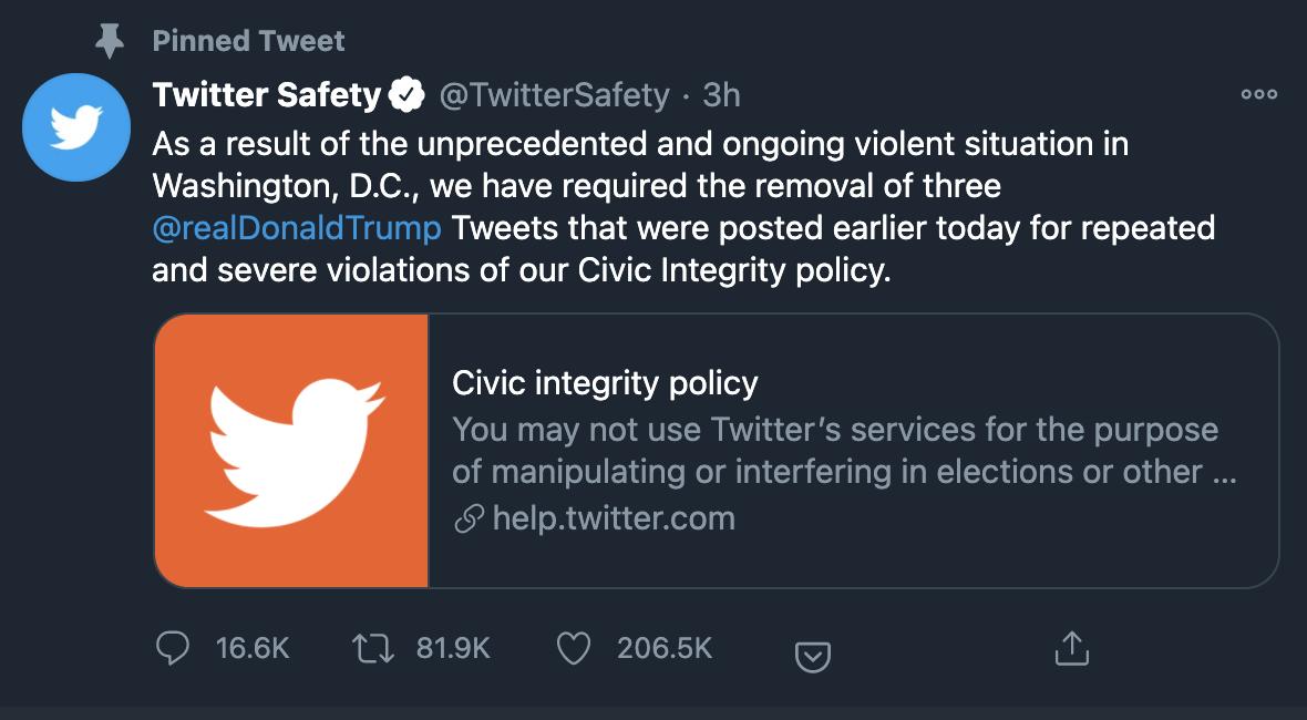 国会山骚乱后,脸书、推特等社交网站相继删除特朗普账户内容