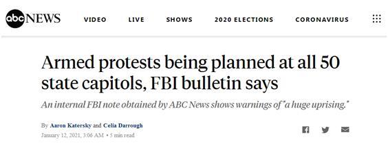 """美媒爆FBI内部警告:若特朗普被罢免,有组织威胁要在全美50州和首都发动""""武装抗议"""""""