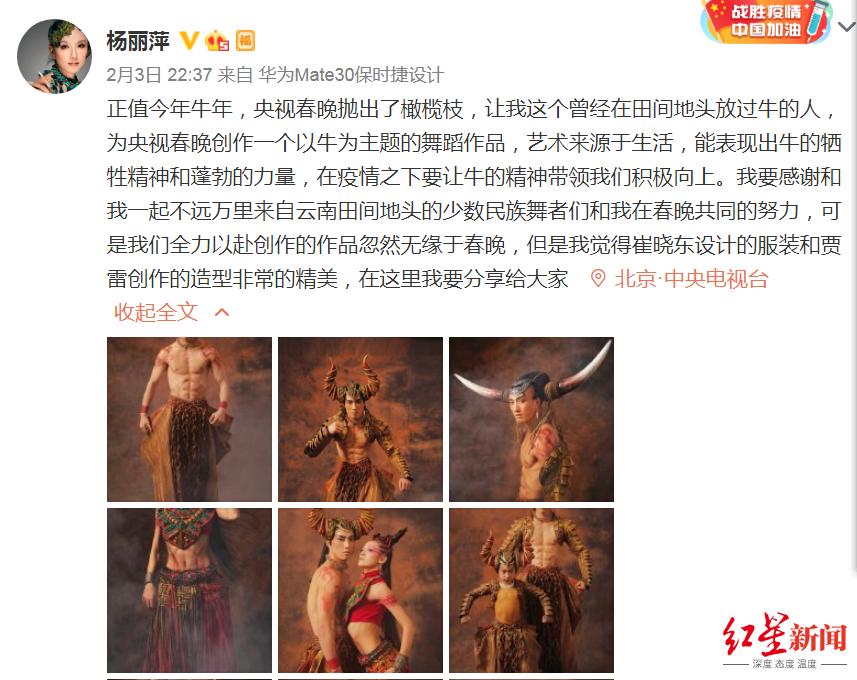 杨丽萍微博发文:透露节目突然被砍,遗憾无缘牛年春晚
