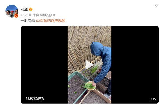 孙俪拍老公雨中剪葱视频 邓超:今天我会很冲(葱)动吗?