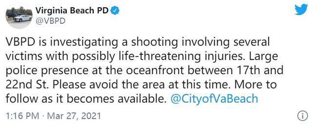 """美国弗吉尼亚发生""""枪击案"""",至少8人受伤!今年前3个月美国超9500人死于枪支暴力……"""