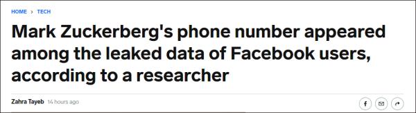 """超5亿脸书用户信息遭泄露,涉及中国大陆67万个,连扎克伯格也""""中招""""了"""