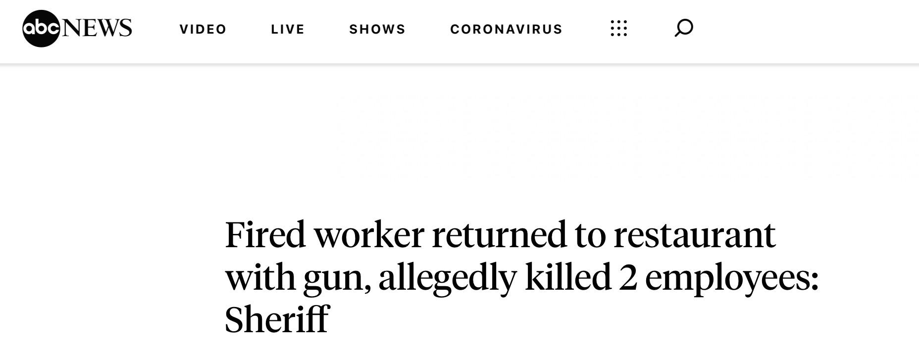 美国一男子被餐厅开除后持枪行凶,2死1伤