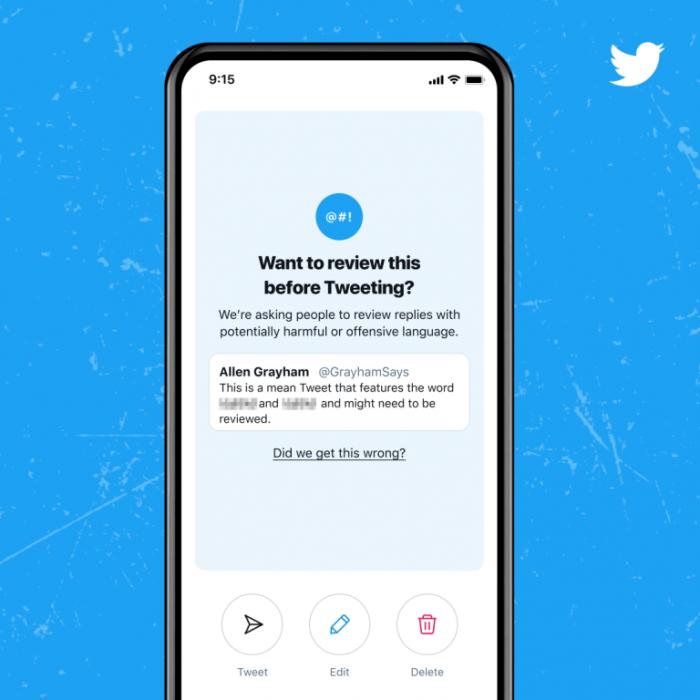 "Twitter推出改进的""回复提示""功能,以减少""有害""推文的出现"