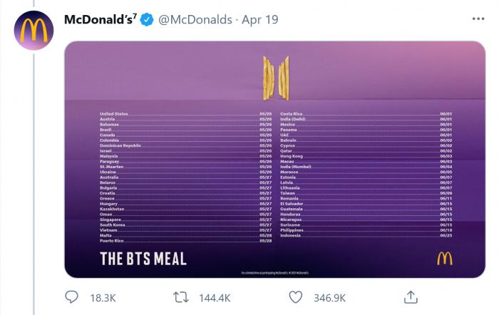 防弹少年团麦当劳套餐率先在美上架:未来将陆续登陆50多个国家