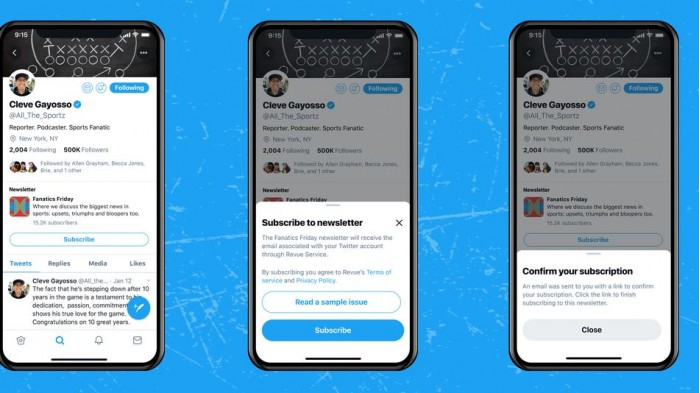 """时事通讯即将入驻 Twitter 应用的""""个人资料""""中"""