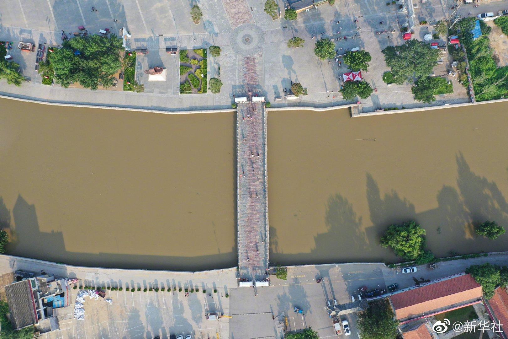 洪水安全通过世界文化遗产千年大运河,明代古桥云溪桥安好