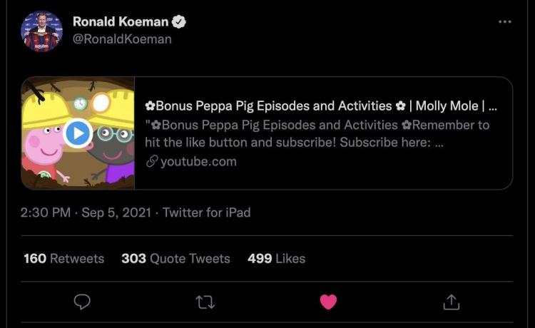 推特上发布《小猪佩奇》片段,科曼解释:我孙子动了我的号