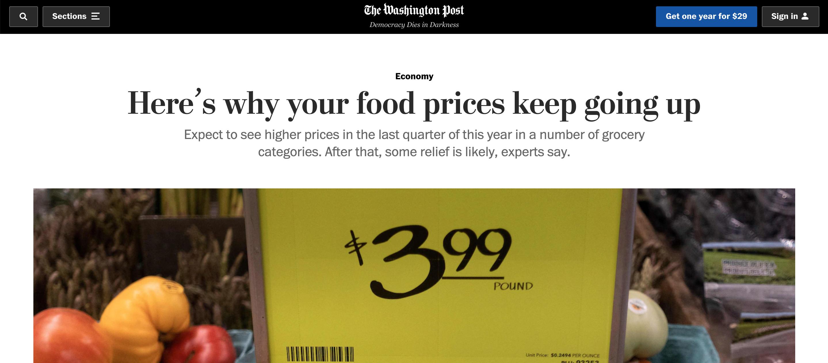 通胀不停!外媒集体关注食品涨价