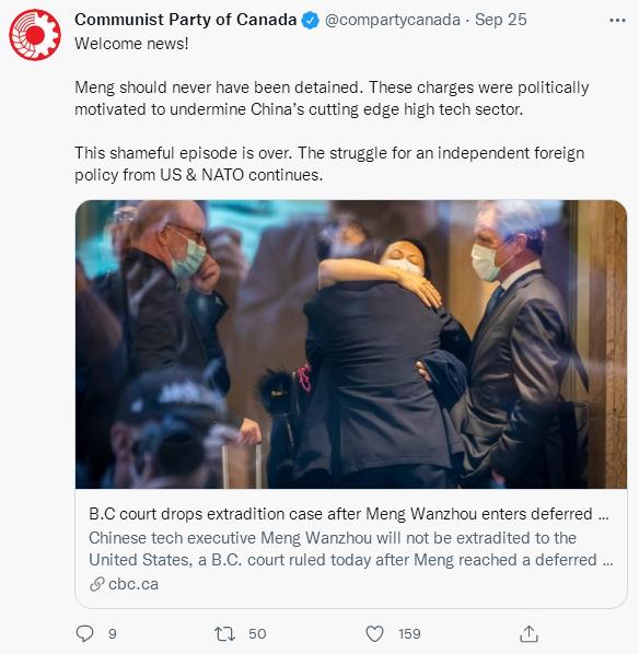 孟晚舟回到中国,加拿大共产党发推特祝贺