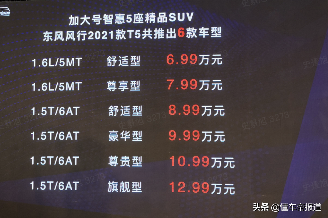 新车 | 售6.99万元起 2021款东风风行T5上市