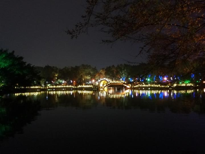 璀璨夜色中,世界第一铜塔和树的光影,美轮美奂